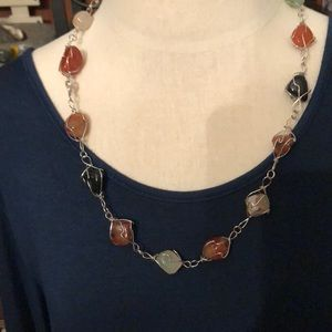 Multi-colored gemstone necklace - wired handmade
